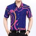 2016 Nuevo estilo del hombre de moda de verano colores contrastados rayada impreso camisa de manga corta