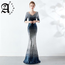 Slim Fishtail Evening Dress 2019 Sequined Party gowns Half sleeves Sexy Backless zipper back Prom dresses