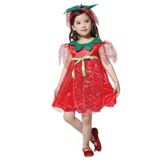 Halloween Baby Costumes Performance Costumes Red Rose Fairy Princess Dress Jewelery Dress for Girls Purim Evening