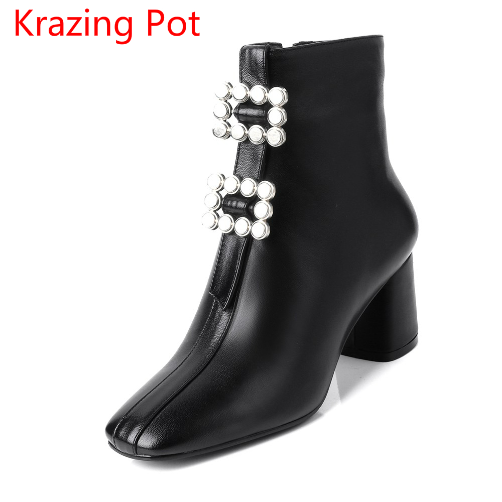 New Arrivel Genuine Leather Square Toe Thick Heels Metal Buckle Motorcycle Boots Solid Handsome Superstar Women Ankle Boots L11 allen roth brinkley handsome oil rubbed bronze metal toothbrush holder