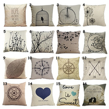 New Promption Home Simple Casaul Beige Background Cotton Linen Pillow Cover Case Cushion H9MN