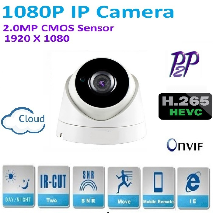 New type1920*1080P H.265 2.0 Megapixel ONVIF HD 1080P IP Camera P2P indoor IR-CUT Night Vision Network Camera Easy plug and play new type1280 720p h 264 1 0 megapixel hd onvif ip camera p2p indoor 24pcs ir leds ir cut night vision network dome camera