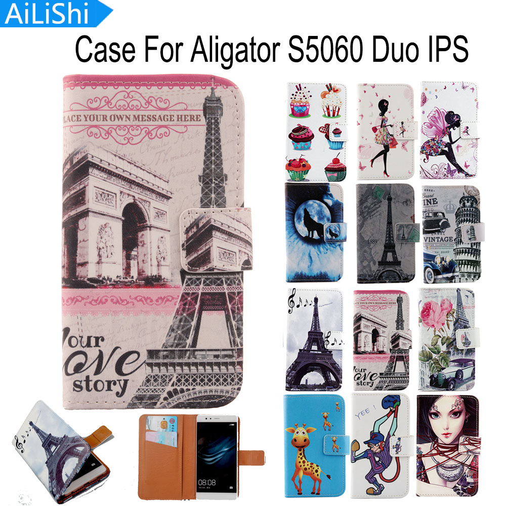 AiLiShi For Aligator S5060 Duo IPS Case PU Cartoon Painted Flip Fashion Leather Case Hot Sale Factory Direct + Tracking In Stock