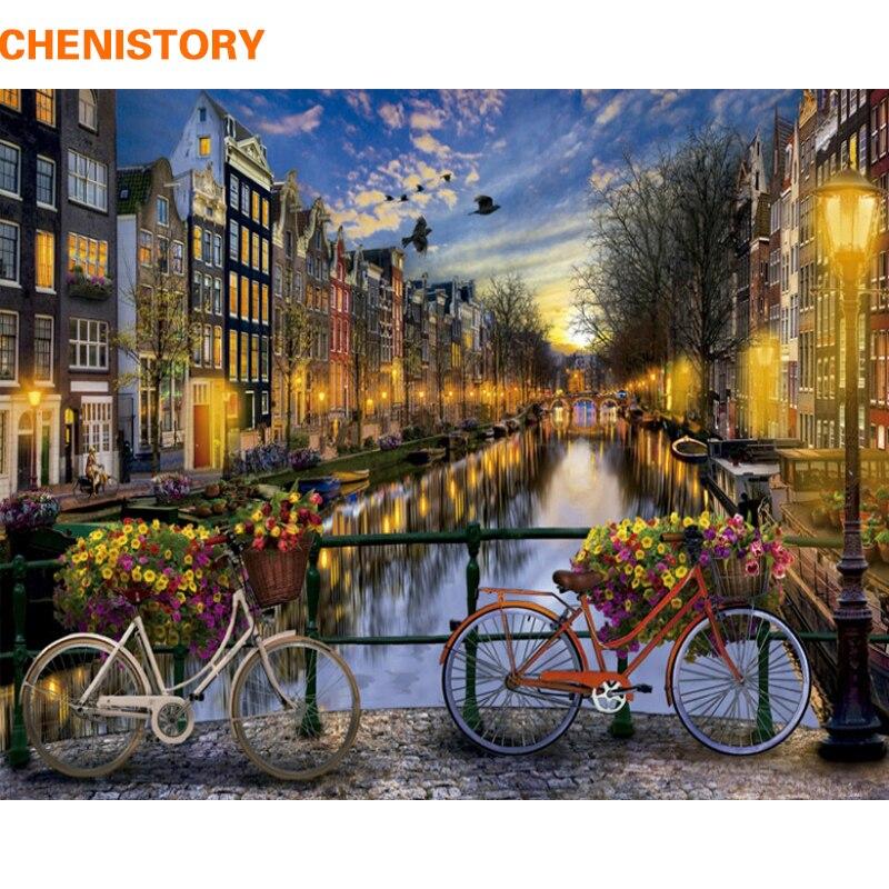 CHENISTORY Moderne Stadt Nacht DIY Malen Nach Zahlen Kit Acryl Farbe Durch Zahlen Wand Kunst Bild Für Home Dekoration 40x50 cm