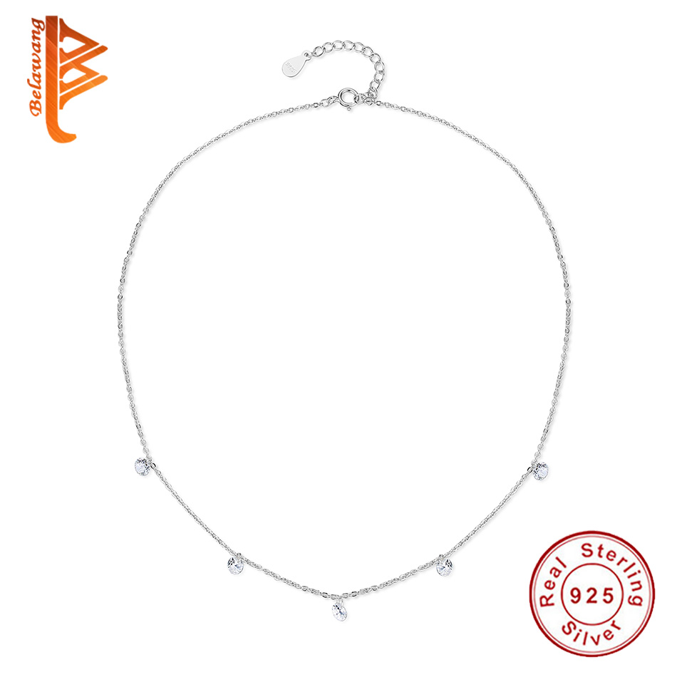 Luxury 925 Sterling Silver Rhinestone Pendant Necklace Crystal Round Choker Necklace Women Sterling-Silver-Jewelry