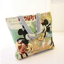 Mickey katze Frauen Leinwand taschen cute cartoon große große kapazität einkaufstaschen mode frau umhängetasche handtasche reise strand tote