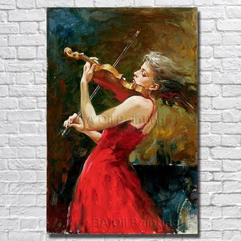 High Quality Hand Painted Canvas Art Women Play Violin Oil Paintings Modern Decoration Wall Art Living Room Decor no Framed