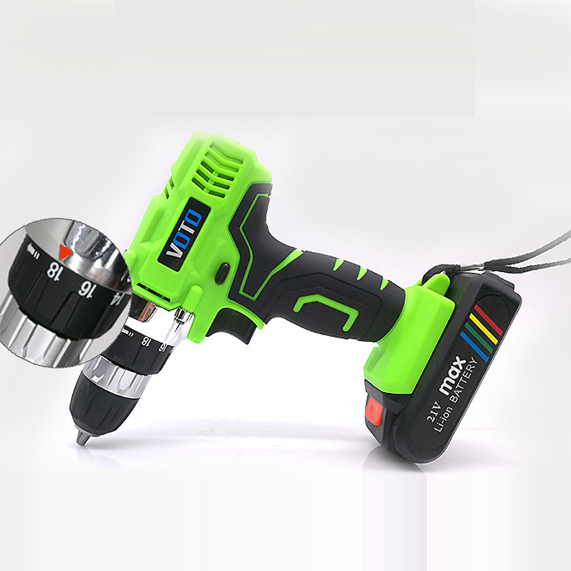 Rechargeable 16.8V 680W Two-speed Lithium-Ion Battery Cordless Electric Drrill Power Tool Set With Plastic Box spare 2600mah 36v lithium ion rechargeable power tool battery replacement for bosch d 70771 bat810 2 607 336 107 bat836 bat840