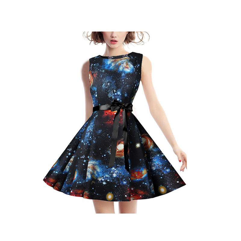 984a724fdd329 ... Dresses Autumn Dress Starry Sky Print 2018 Women Plus Size XXL Tunic  Belt Sundress Vintage Retro ...