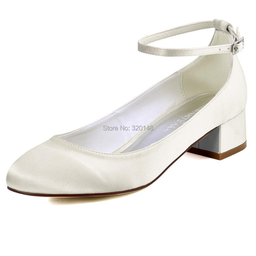 FC1613 Shoes Woman Black Closed Toe Block heel Ankle Strap Low Comfort Heel Satin Bride Lady Wedding Bridal Evening Pumps