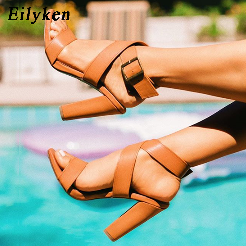 Eilyken 2019 New Summer Sandals Sexy Ankle Strap Buckle Strap Square High-Heel 11.5cm Buckle Open-Toe Party Sandals Size 35-40Eilyken 2019 New Summer Sandals Sexy Ankle Strap Buckle Strap Square High-Heel 11.5cm Buckle Open-Toe Party Sandals Size 35-40
