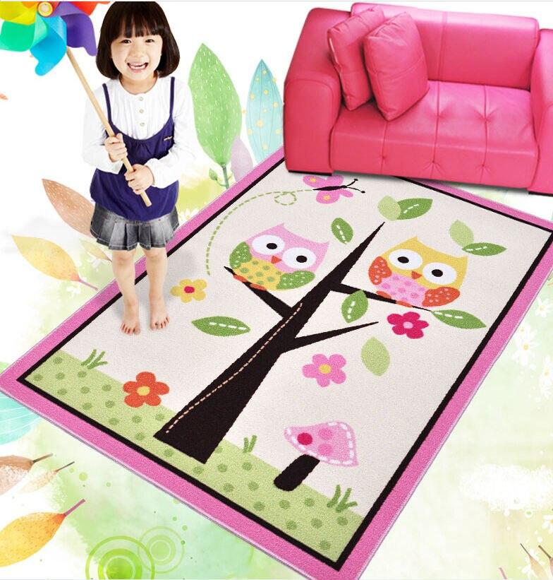 Kids Rugs Girl Bedroom Home Textile Bedside Rug Tapete Unique Cartoon Owl Carpet Alfombra Pink Fairy Girls Rug for Living Room