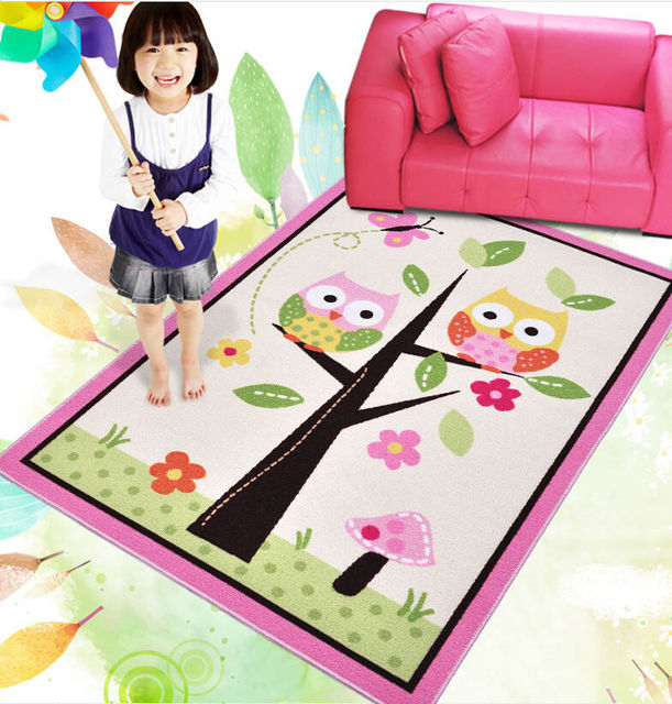 kids rugs girl bedroom home textile bedside rug tapete unique cartoon owl carpet alfombra pink. Black Bedroom Furniture Sets. Home Design Ideas