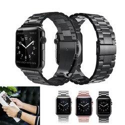 Faixa de Relógio de Aço inoxidável Bandas Para Apple 4 42mm 44mm Substituição Pulseira Clássico Para iWatch série 1/ 2/cinta 3 38mm 40mm Cinto