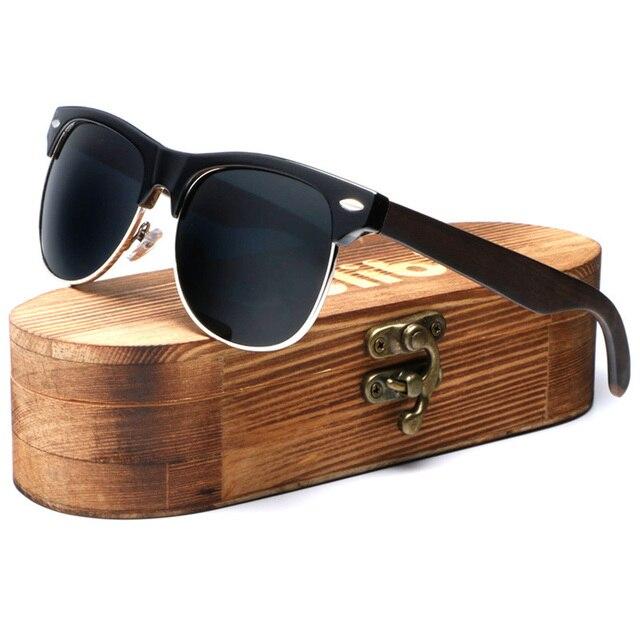 Ablibi De Madeira De Bambu Óculos De Sol com Lentes Polarizadas Homens  Únicas Semi Óculos Sem c3a86a7401