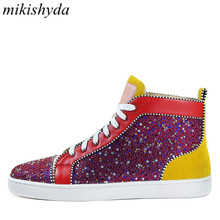 Mikishyda Men Patchwork Multicolor Rhinestone Sneaker Lace-up Flat High Top Camping Shoes EU39-EU47