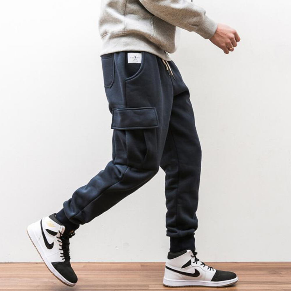 MASCUBE Autumn Casual Men Sweat Pants Male Cotton Velvet Sportswear Trousers Straight Pants Hip Hop High Street Trousers Pants