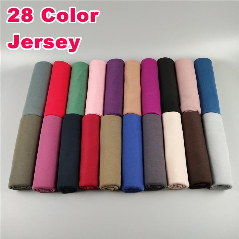 20PCS High Quality Plain Jersey Hijab Muslim Hijab Shawl Autumn Cotton Elastic Strechy Solid Muslim Head