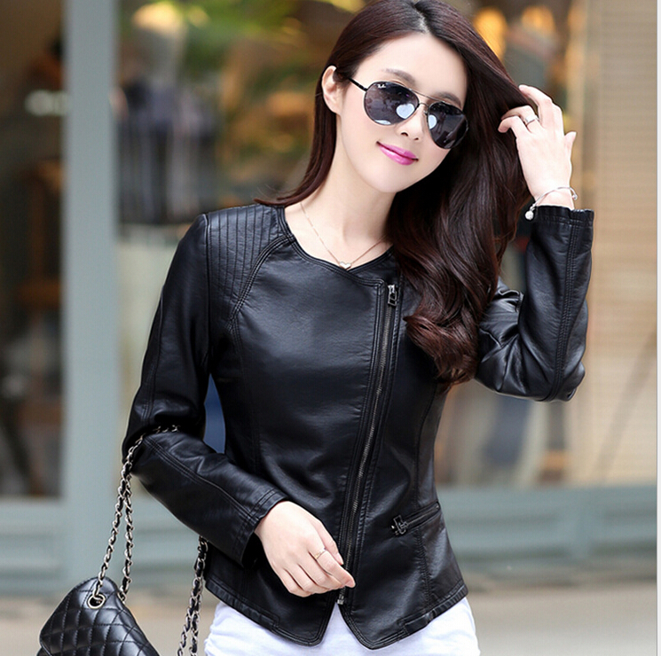 Online Shop Fashion collar womens jackets 2015 black leather ...
