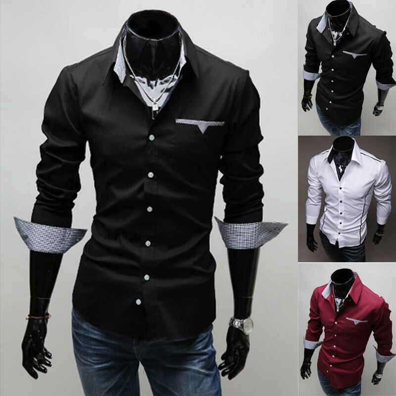Guide New Mens Casual Slim fit Stylish Long Sleeve Shirts Luxury Pink All Sizes