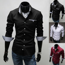 Fashion New Mens Long Sleeve Slim Fit Shirt Stylish Casual Top Shirts