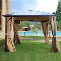 10 'x 12' жесткая крыша  наружная патио  навес  алюминиевые столбы  стоячие уличные шторы и сетка  устойчивые к УФ-излучению