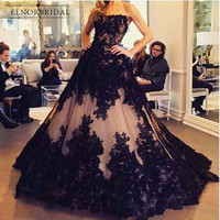 Amazing Strapless Black Lace Evening Dresses 2019 Robe De Soiree A Line Vestido De Festa Special Occasion Formal Dress