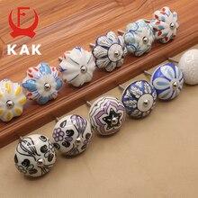 KAK 40mm Hand-painted Ceramic Drawer Knobs Porcelain Rural Cabinet Knob Cupboard Handles Mediterranean Furniture Handle Hardware