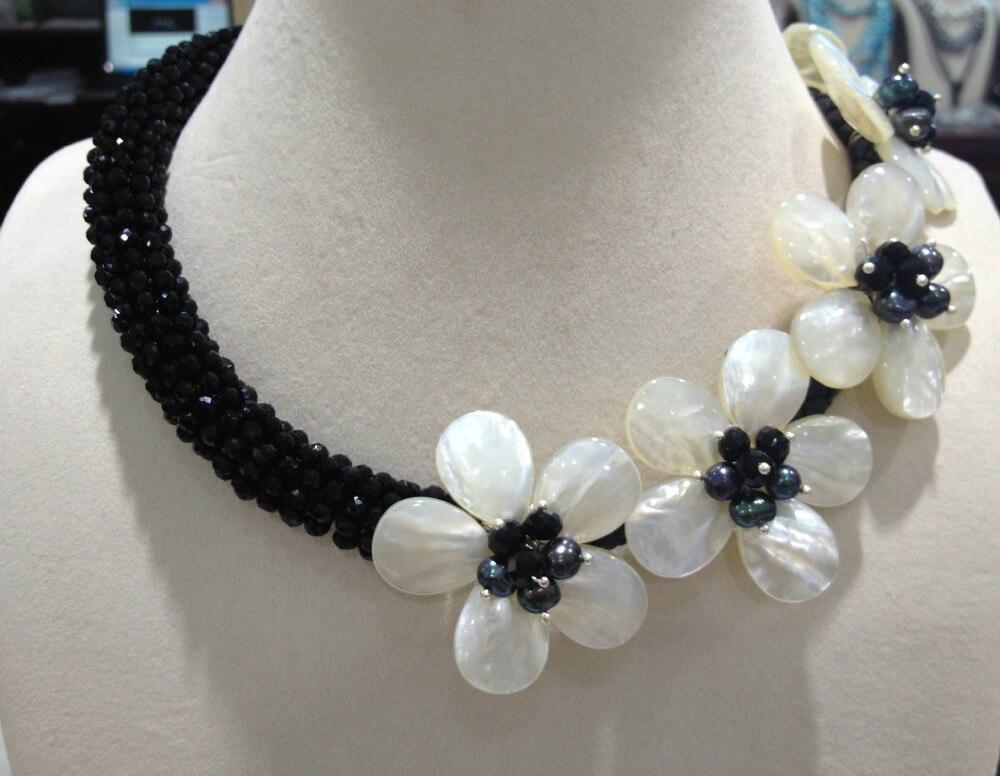Livraison gratuite collier de Chocker de fleurs en coquillage naturel avec cristal noir femmes bijoux coquillage fleurs