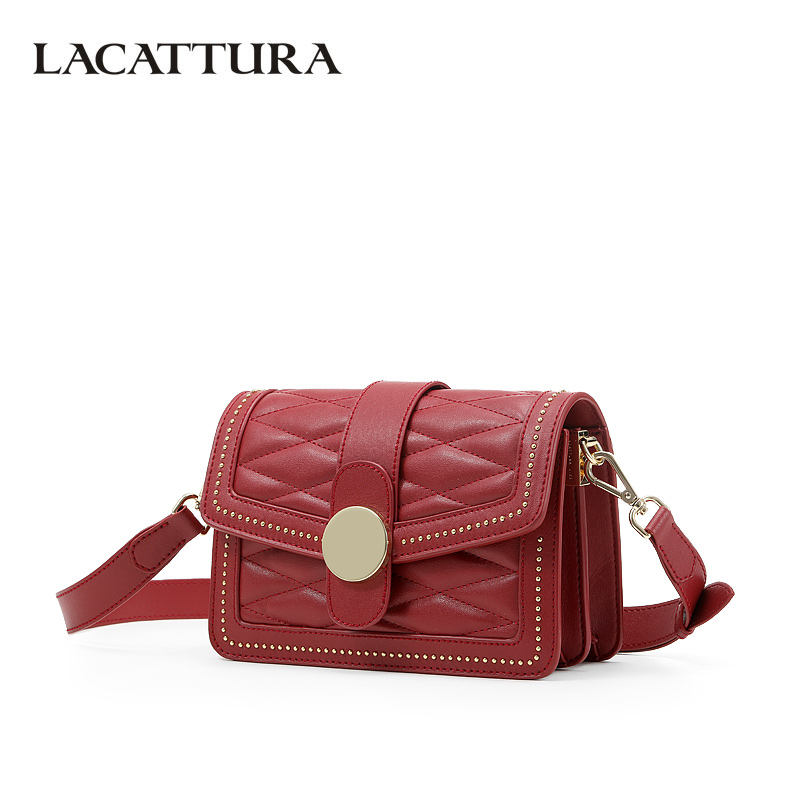 все цены на LACATTURA Luxury Rivet Women Handbag Chic Flap Shoulder Small Bag Fashion Messenger Bags Designer Ladies Crossbody Bag