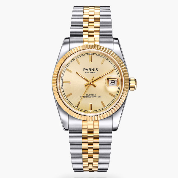 Parnis 36mm golden dial and marks date sapphire glass 21 jewels MIYOTA Automatic movement  Mens watches women 389Parnis 36mm golden dial and marks date sapphire glass 21 jewels MIYOTA Automatic movement  Mens watches women 389