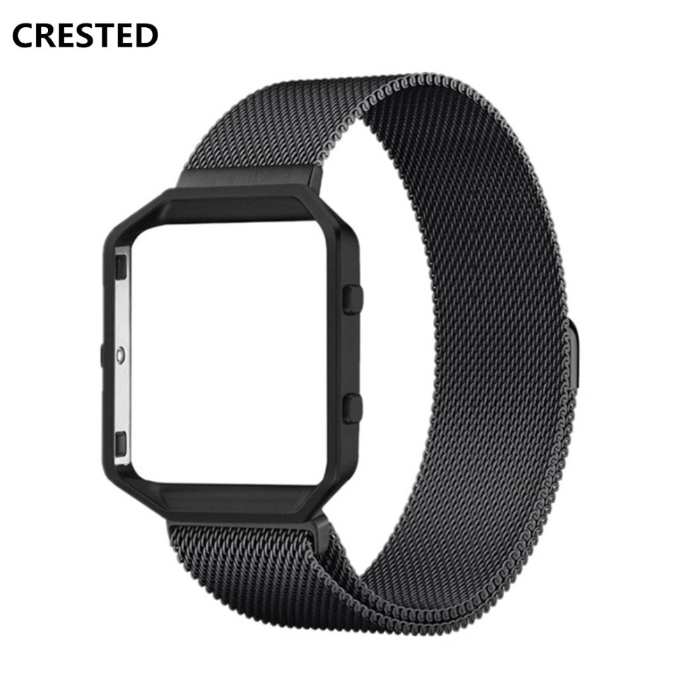 CRESTED Milanese Loop Watch Strap For Fitbit Blaze band Stainless Steel replalcement Bracelet Metal Frame Wristband Bracelet image
