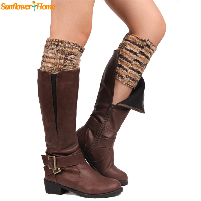 Newly Design Women Multicolor Short Knit Wool Leg Warmers Boot Leg Cover 160824 Drop Shipping