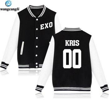 KPOP EXO The Same Style Baseball Jacket Women Men Uniform Coat Autumn Winter Sweatshirt Fashion Plus Size Jackets clothes