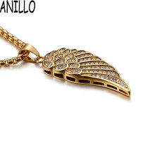 ANILLO Men's Angel Wings Pendant Necklaces Gold 316L Stainless Steel Inlay Cubic Zirconia Hip Hop Jewelry