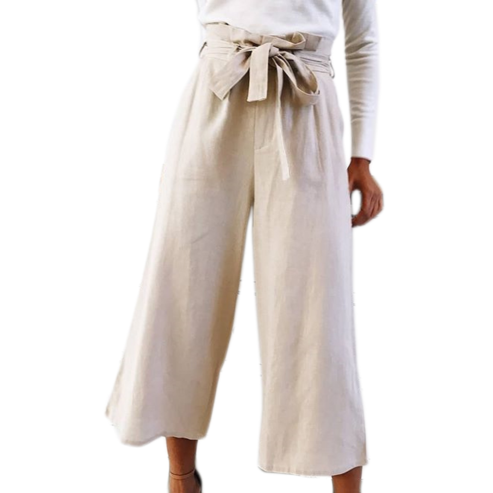 2018 Women Wide Leg   Pants   Women Summer Beach High Waist Trousers Chic Streetwear Sash Casual   Pants     Capris   Female Hot Fashion