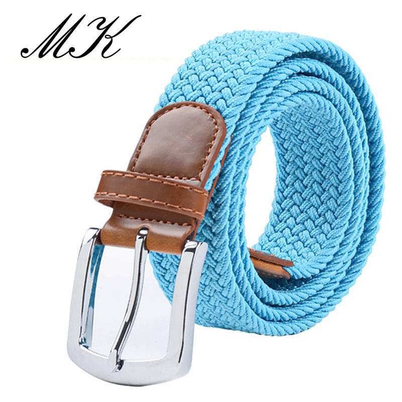 MaiKun мужские ремни с металлической пряжкой булавки эластичный мужской ремень армейский тактический ремень для мужчин - Цвет: Lightblue