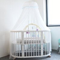 Dome Hanging White Cotton Baby Bed Canopy Mosquito Net Curtain With Stents Palace Round Baby Bed Mosquito Home Foldable Net 2*5m