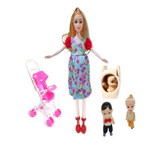 Toys Family 3 People Dolls Suits 1 Mom / Baby Son/1 Baby Carriage Real Pregnant Doll Gifts цена