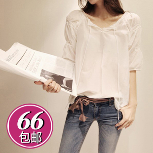 2013 summer female short-sleeve chiffon shirt lace decoration patchwork female m0309 chiffon shirt