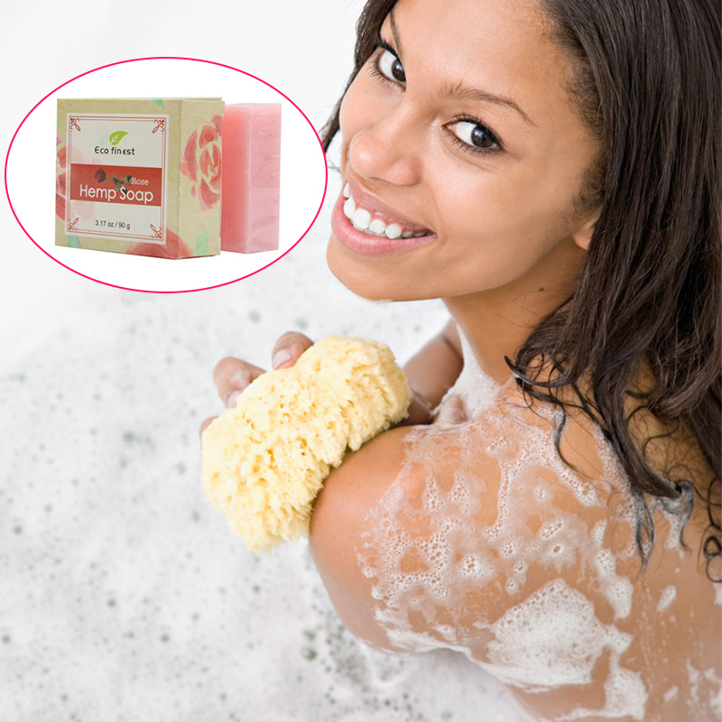 6 Pcs Handmade Hemp Oil Soap Skin Care Revitalizing Scent with Tea Tree Rose Lavender KG66
