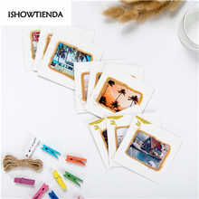 2017 New Wall Deco DIY Creative Mini Paper Photo Frame Mini Colored Clothespins Twine Decor Your Bedroom(China)