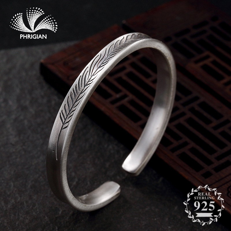 NOT FAKE S990 Fine Jewelry 100% Sterling Silver Bangle S925 Vintage Ethnic wheat pattern Handmade Nature Women Luxury retro 925NOT FAKE S990 Fine Jewelry 100% Sterling Silver Bangle S925 Vintage Ethnic wheat pattern Handmade Nature Women Luxury retro 925