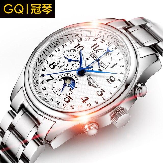 Men watches Original Brand GUANQIN Perpetual calendar 4 hands Auto Mechanical movement waterproof Wristwatch men  sport watches