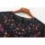 2017 Bordado Floral Mulheres Blusas O Pescoço Camisas de Manga Longa Preto Plus Size Seersucker Chiffon Blusa BBWM16169