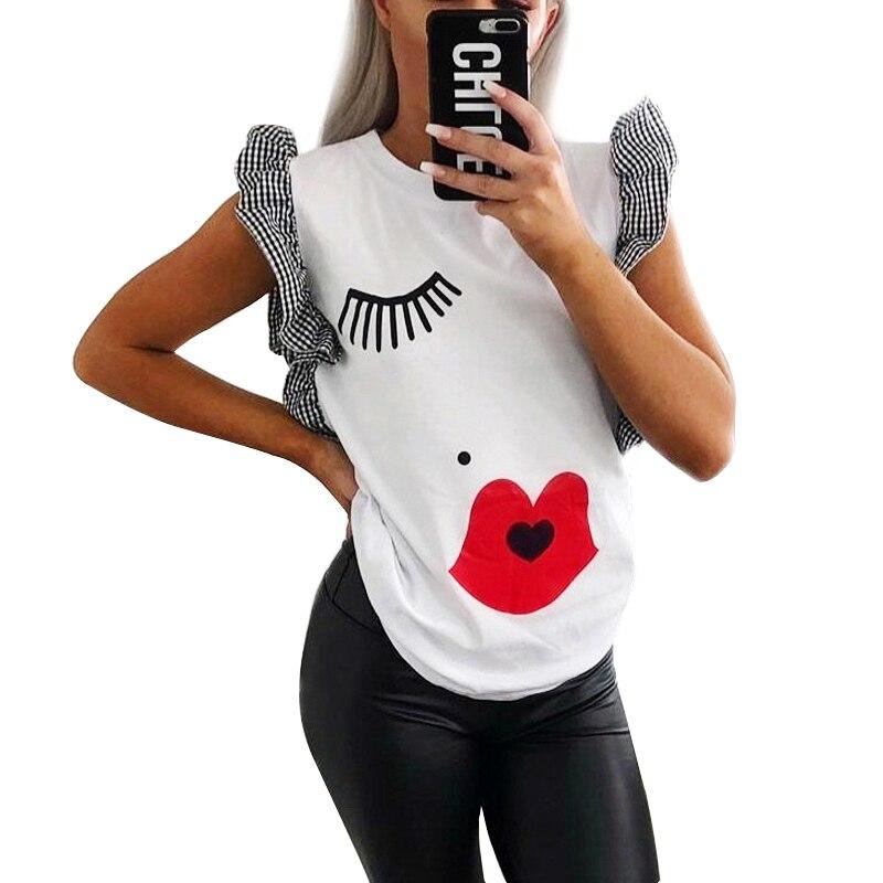 GUMPRUN New Women Ruffle Fashion Eyelashes Red Lips Print T Shirt Clothes 2019 Summer Ladies Streetwear White Casual Tops Tshirt