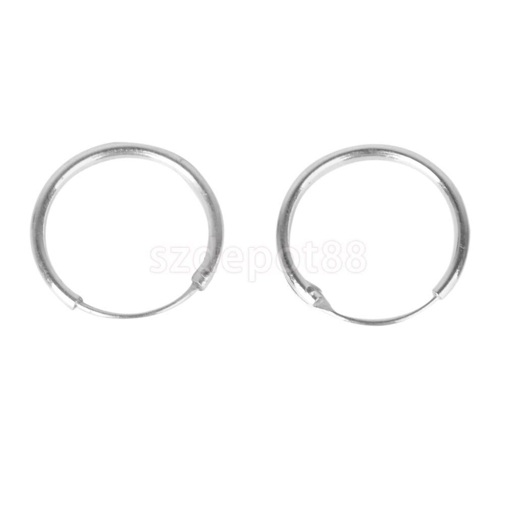 925 Sterling Silver Endless Hoop Rings Lip Nose Ear Studs 12mm