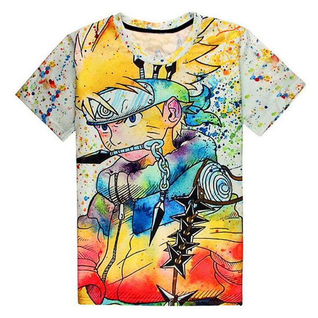 Nueva moda 3D camisetas impresas para hombre verano japonés Anime camisas  Naruto dibujos animados personaje gráfico d0d554ba65c2b