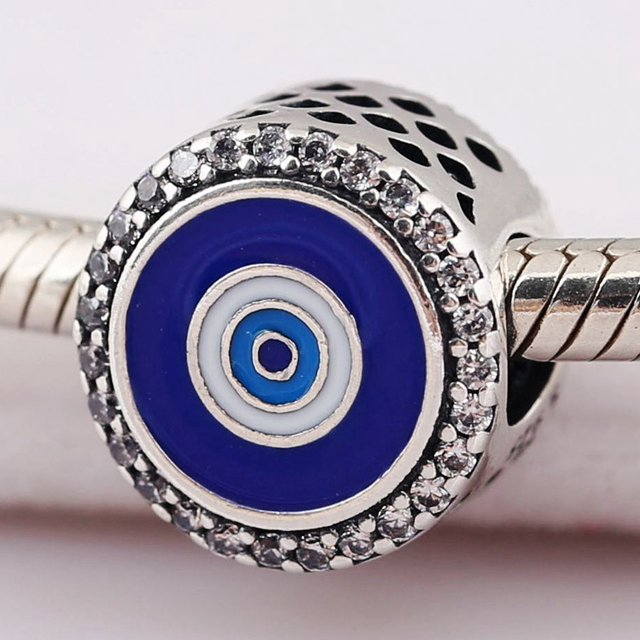f8cb6a1db Authentic 925 Sterling Silver Mixed Enamel Watchful Eye With Crystal Charm  Fit Pandora Bracelet Bangle DIY Jewelry