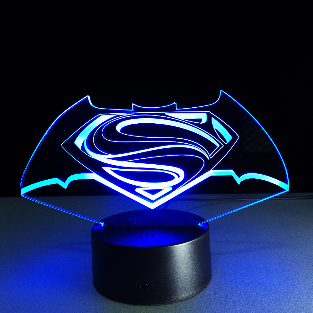 Captivating New Colorful Visual Stereo Lamp Superman Vs Batman LED Touch Gradient  Changing 3D Lamp Creative Energy Saving Lamps USB Light In Night Lights  From Lights ...